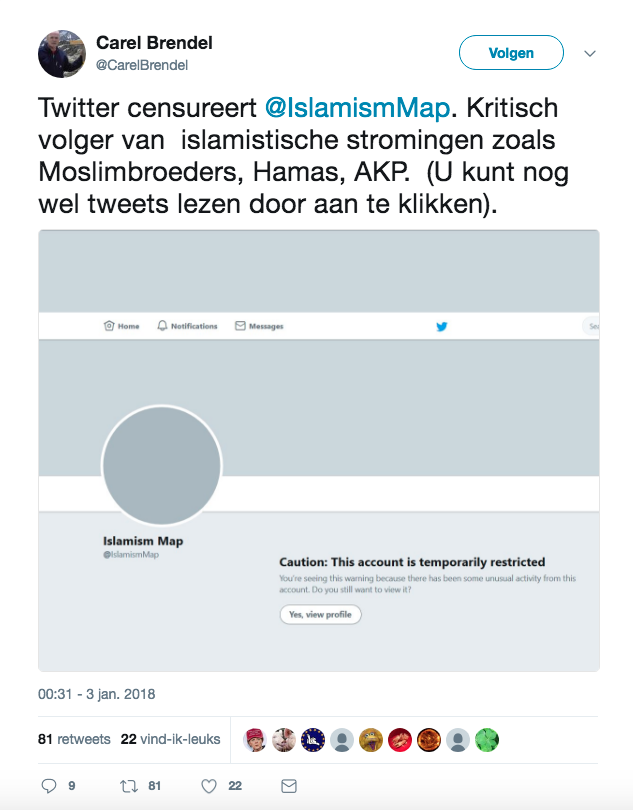 Tweet censuur islamcritisi