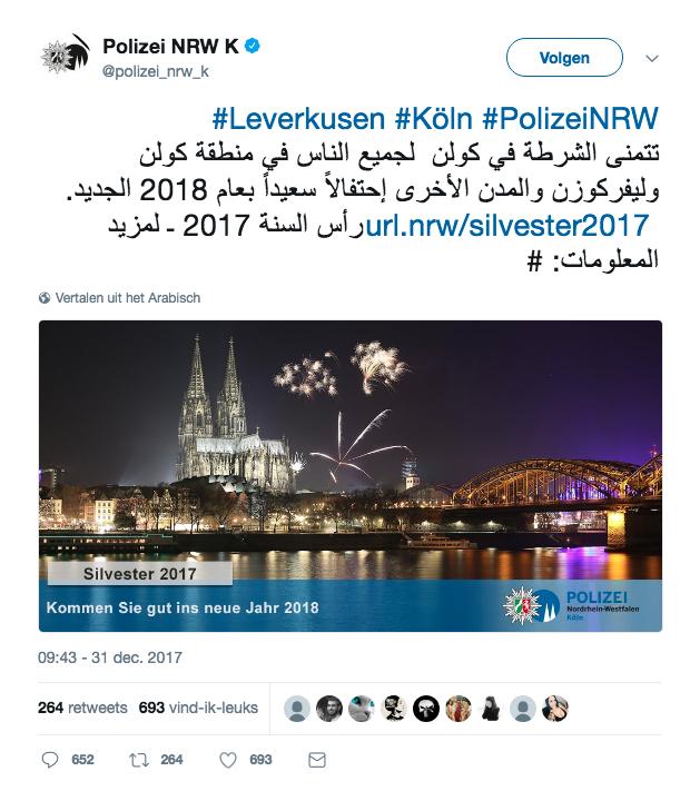 Tweet Politie Duitsland Arabisch nieuwjaar